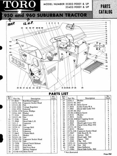 Tractor 1969 Toro 10hp  U0026 12hp Suburban D U0026a Ipl Wiring