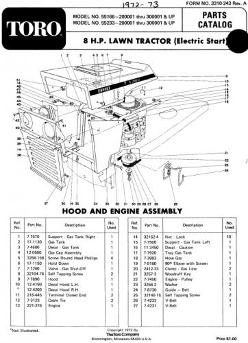 tractor 1972 toro 8hp lawn tractor d a ipl wiring pdf 1965 1972 redsquare wheel forum