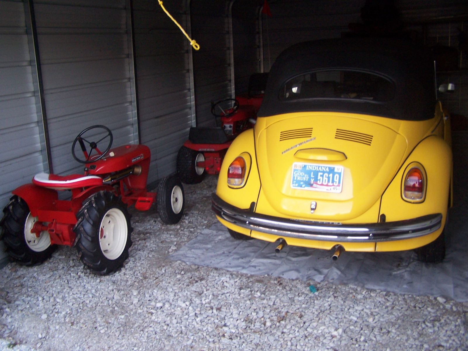 1958  Wheel Horse RJ58  and 1969 VW Cabriolet bug.