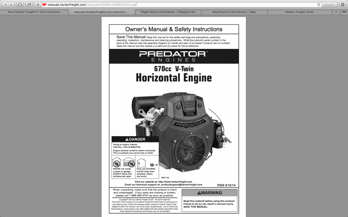 New Harbor Freight V-Twin Horozontal Engine Manual - Engines ...