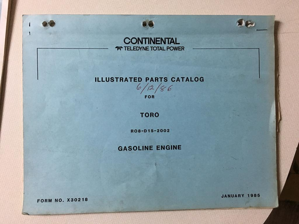 """Toro Continental """"R"""" 4cyl owners and parts manuals - Wheel Horse for ..."""