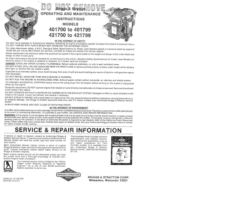 Engine B S 16hp VS Twin 401707 OM Other