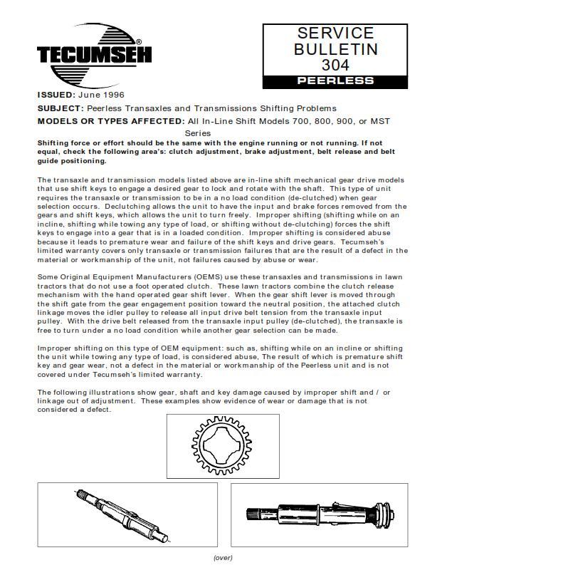 Transmission Gear Peerless Service bulletin #304 pdf