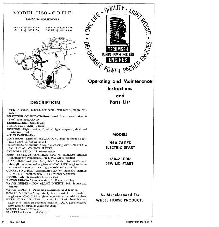 Engine Tecumseh H60-75117D & H60-75118D OM IPL pdf - Other