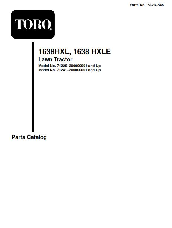 Tractor 2000 16-38HXL Lawn tractor D&A OM IPL Wiring sn.pdf - 1998 on