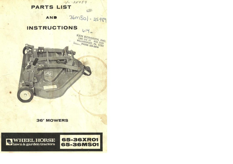 Mower Rotary 36in RD 1976 65-36XR01 OM IPL SN pdf - Mower