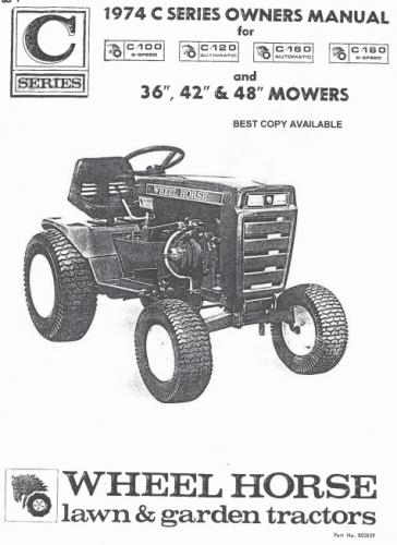 Tractor Parts Manual For Wheel Horse C-160