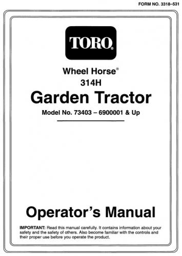 Tractor 1996 314 H Om Ipl Wiring D A Sn Pdf