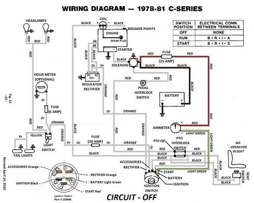 tractor 1979 cseries kohler powered wiring revised detailed