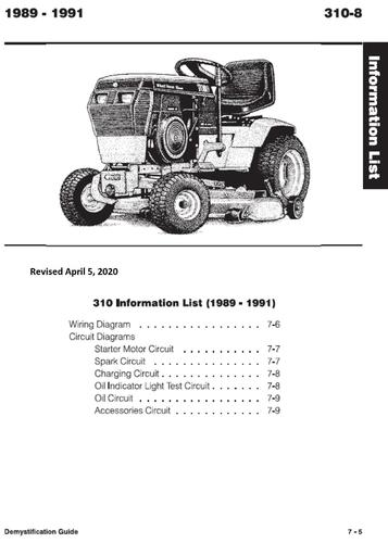 Tractor 1991 310-8 Wiring Detailed Revised Pdf