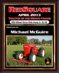 april tractor Of month plaque Michael McGuire
