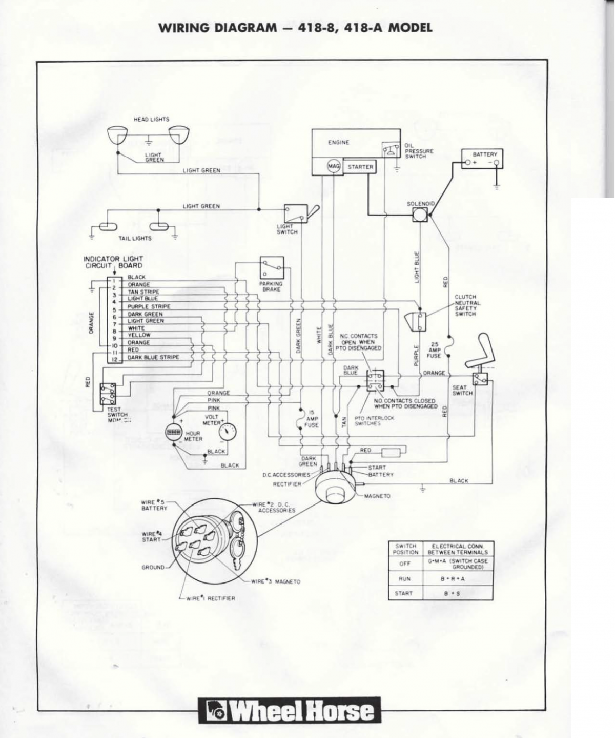 418-a Wiring Diagram Needed    - Wheel Horse Electrical