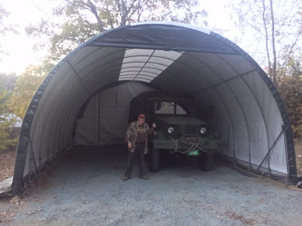 Dennis with M35 in new tent 10-22-17.JPG